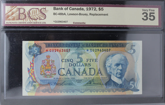 1972 Bank of Canada $5, Replacement, BCS Certified VF-35