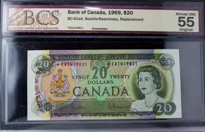 1969 Bank of Canada $20, Replacement, BCS Certified AU-55 Original