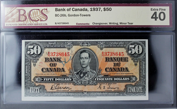 1937 Bank of Canada $50, Changeover, Writing, Minor Tear, BCS Certified EF-40