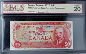 1975 Bank of Canada $50, Replacement, Hole, BCS Certified VF-20