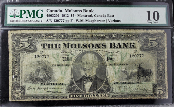 1912 Molsons Bank $5, PMG Certified VG-10