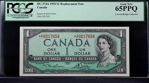 1954 Bank of Canada $1, Replacement, PCGS Certified Gem New 65PPQ (Covered Bridge Collection)