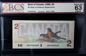 1986 Bank of Canada $2, Replacement, BCS Certified CUNC-63 Original