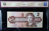 1986 Bank of Canada $2, Changeover, BCS Certified AU-58 Original