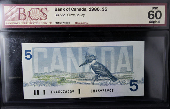 1986 Bank of Canada $5, BCS Certified UNC-60 Original
