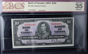 1937 Bank of Canada $10, BCS Certified VF-35 Original
