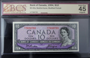 1954 Bank of Canada $10, Modified, BCS Certified EF-45 Original