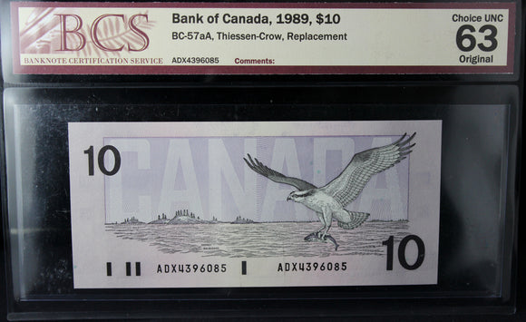 1989 Bank of Canada $10, Replacement, BCS Certified CUNC-63 Original