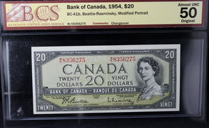 1954 Bank of Canada $20, Modified, Changeover, BCS Certified AU-50 Original