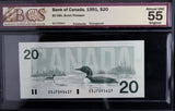 1991 Bank of Canada $20, Changeover, BCS Certified AU-55 Original