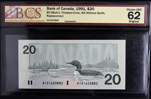 1991 Bank of Canada $20, Replacement, AIX Without Serifs, BCS Certified CUNC-62 Original