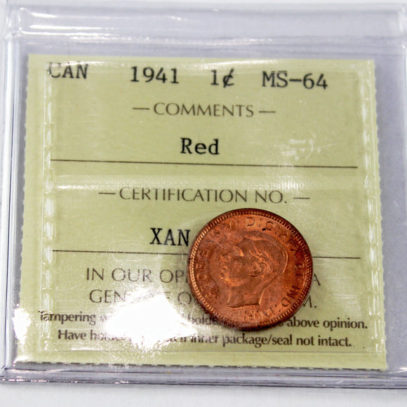 1941 Canada 1 Cent Red, ICCS Certified MS-64