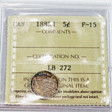1883H Canada 5 Cents, ICCS Certified F-15