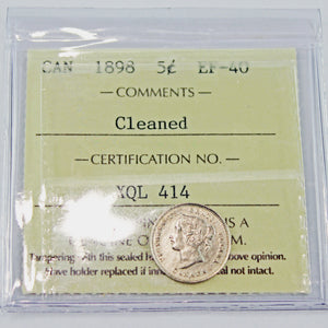 1898 Canada 5 Cents, ICCS Certified EF-40, Cleaned