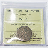 1926 Canada 5 Cents, Far 6, ICCS Certified VG-10