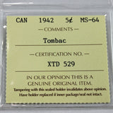 1942 Canada 5 Cents, Tombac, ICCS Certified MS-64