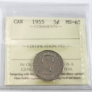 1955 Canada 5 Cents, ICCS Certified MS-65