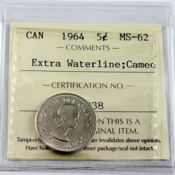 1964 Canada 5 Cents, EWL, Cameo, ICCS Certified MS-62