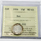 1956 Canada 10 Cents, Dot, ICCS Certified MS-65
