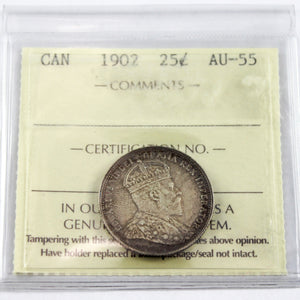 1902 Canada 25 Cents, No H, ICCS Certified AU-55