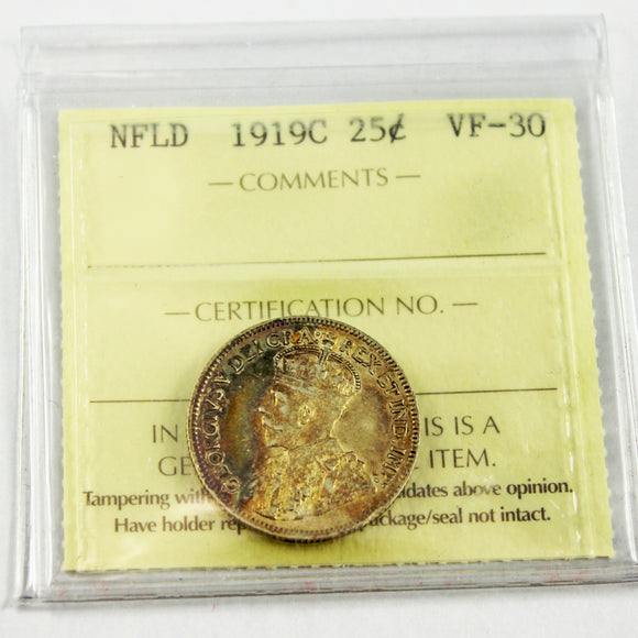 1919C Newfoundland 25 Cents, ICCS Certified VF-30