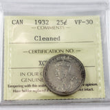 1932 Canada 25 Cents, ICCS Certified VF-30, Cleaned