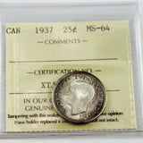 1937 Canada 25 Cents, ICCS Certified MS-64
