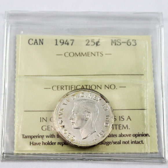 1947 Canada 25 Cents, ICCS Certified MS-63