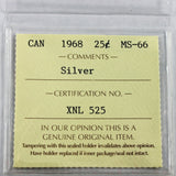 1968 Canada Silver 25 Cents, ICCS Certified MS-66
