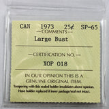 1973 Canada 25 Cents, Large Bust, ICCS Certified SP-65