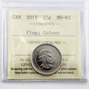2015 Canada 25 Cents, Flag, Coloured, ICCS Certified MS-65