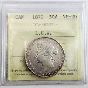 1870 Canada 50 Cents, L.C.W., ICCS Certified VF-30