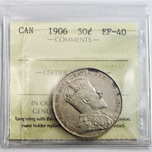 1906 Canada 50 Cents, ICCS Certified EF-40