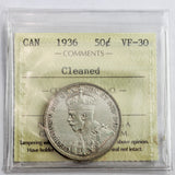 1936 Canada 50 Cents, Cleaned, ICCS Certified VF-30