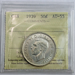 1939 Canada 50 Cents, ICCS Certified AU-55