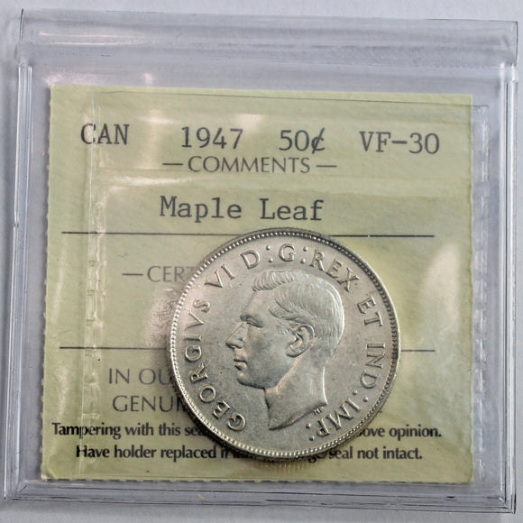 1947 Canada 50 Cents, S7 ML, ICCS Certified VF-30