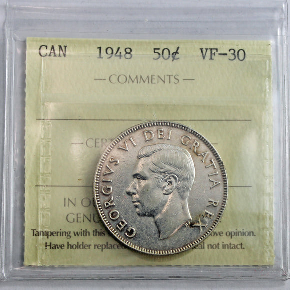 1948 Canada 50 Cents, Narrow Date, ICCS Certified VF-30