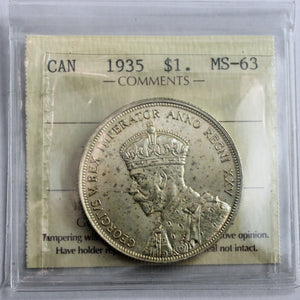 1935 Canada $1, ICCS Certified MS-63