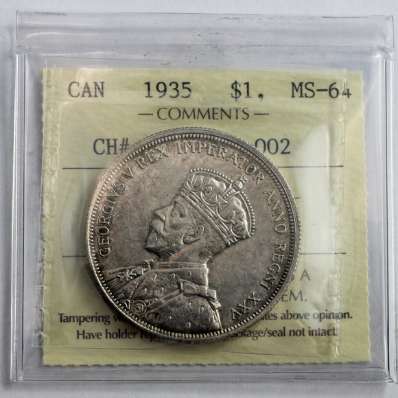 1935 Canada $1, CH# 1935, Obv. 002, ICCS Certified MS-64