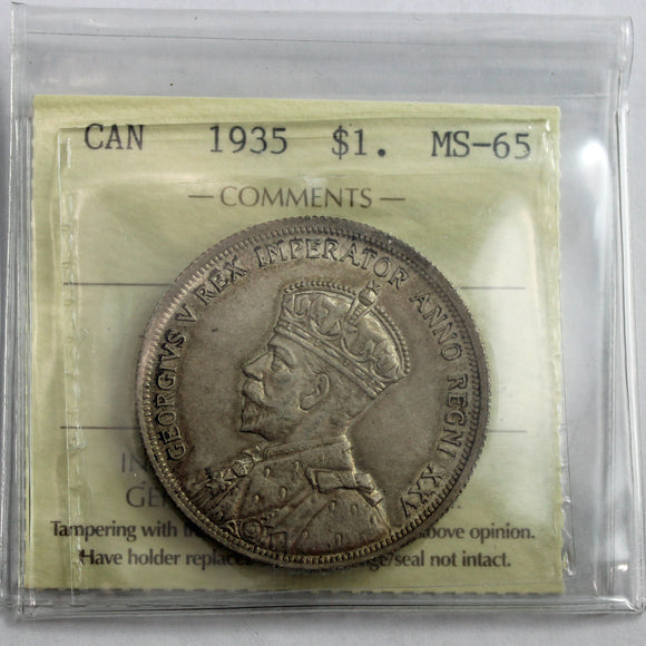 1935 Canada $1, ICCS Certified MS-65