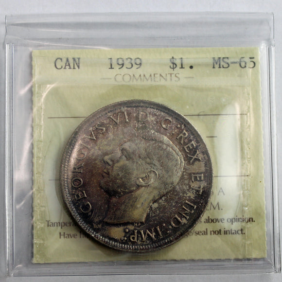 1939 Canada $1, ICCS Certified MS-65