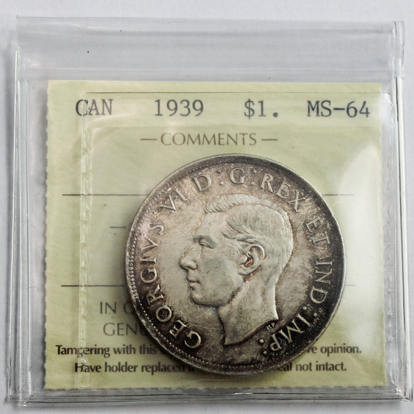 1939 Canada $1, ICCS Certified MS-64