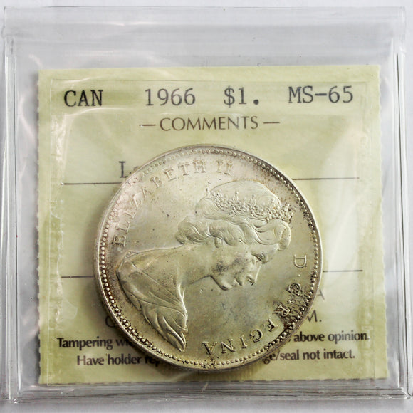 1966 Canada $1, Large Beads, ICCS Certified MS-65