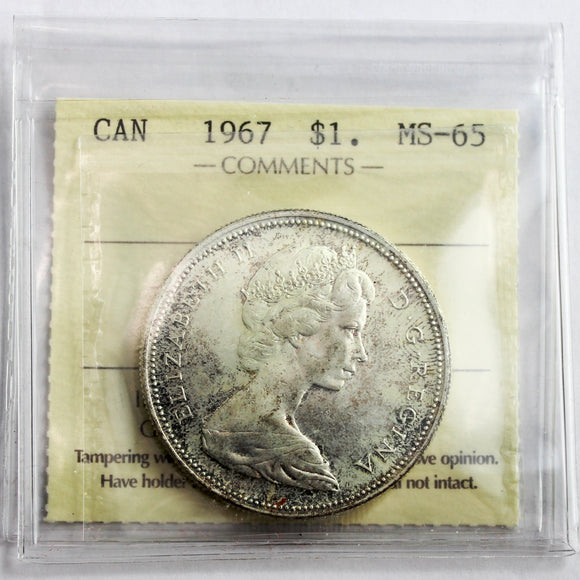 1967 Canada $1, ICCS Certified MS-65
