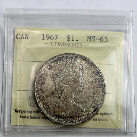 1967 Canada $1, Partial Dive, ICCS Certified MS-65