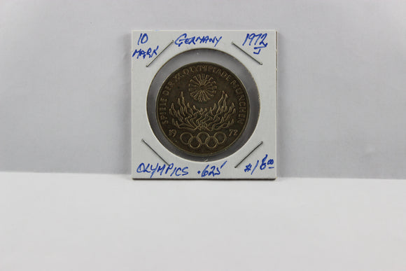 1972J Germany 10 Mark, .625 Silver, UNC, Toned, Olympics, KM# 135