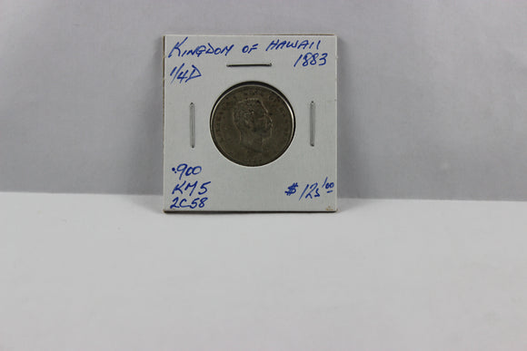 1883 Hawaii 1/4 Dollar, .900 Silver, VG - F, KM# 5