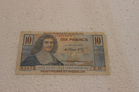 St. Pierre et Miquelon (France) 10 Francs, St. Pierre et Miquelon, Missing 1 corner, F+, Pick #23