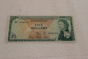 1965 East Caribbean 5 Dollars, East Caribbean Currency Authority, Trimmed, AU+, Pick #14a