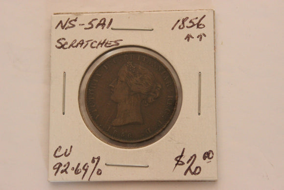 1856 Nova Scotia, Province Of Nova Scotia Half Penny Token, Scratches, 92.69 CU, NS-5AI